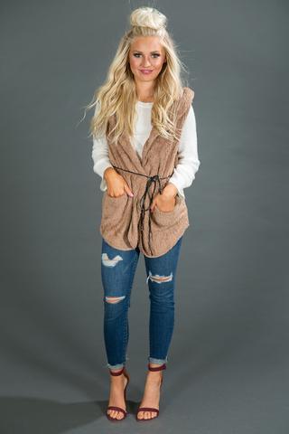 tie waist camel fleece vest ripped jeans