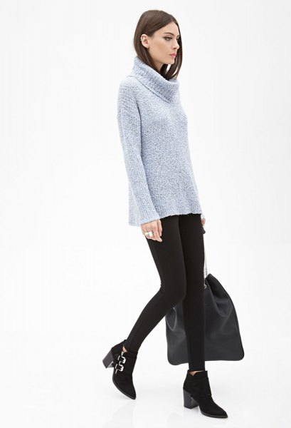 tiffany blue marled knit sweater ankle boots