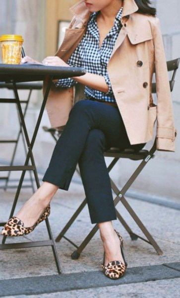 trench coat check shirt leopard shoes