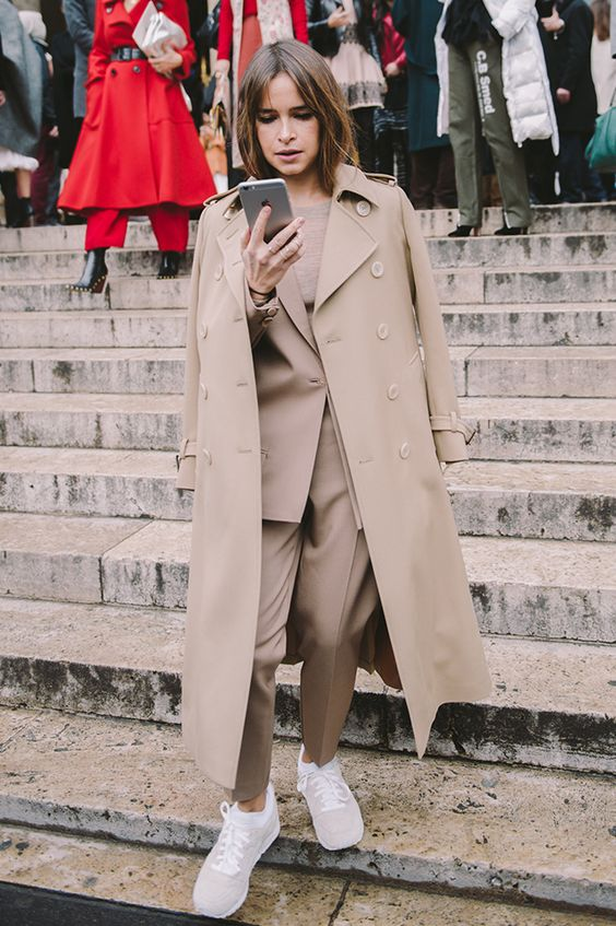 trench coat oversized long all beige