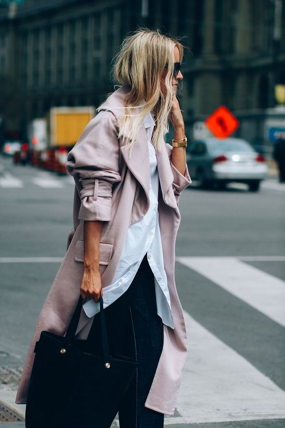 trench coat oversized long blush pink