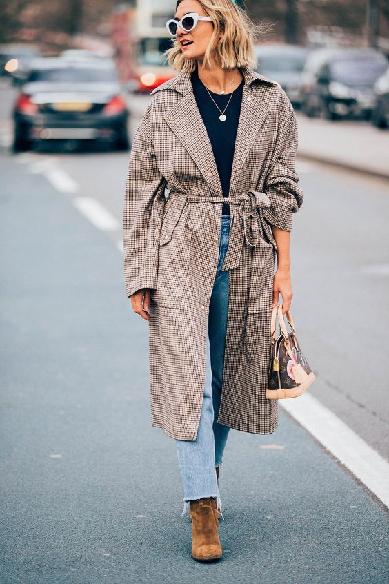 trench coat oversized plaid