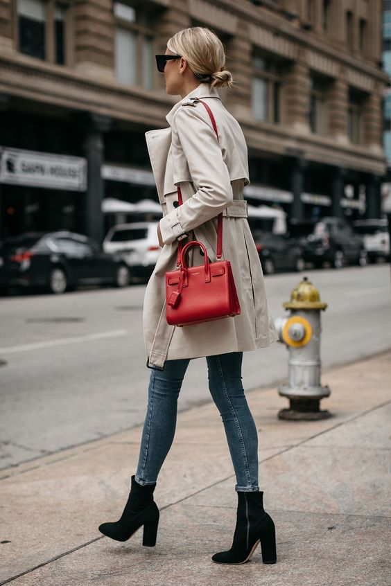 trench coat red bag