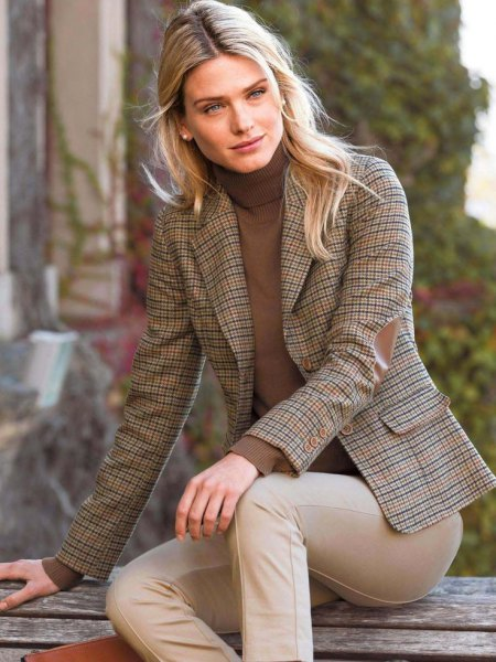 tweed blazer green high neck sweater beige dress pants