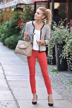 tweed jacket white top red jeans