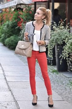 tweed jacket white top red jeans