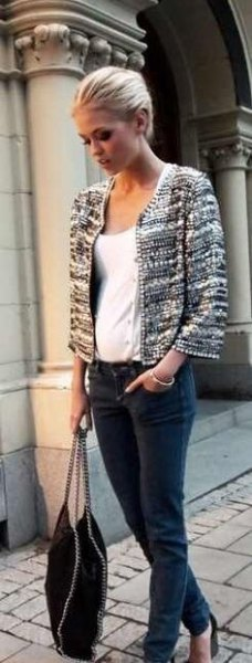 tweed jacket white vest top jeans