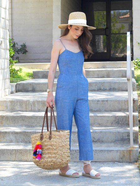 unwashed chambray jumpsuit grass hat