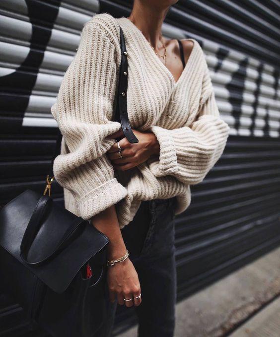 v neck sweater beige black