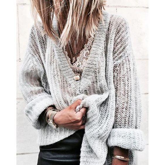 v neck sweater lace bra