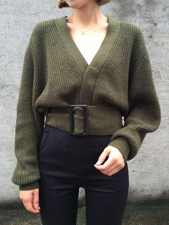 v neck sweater olive green