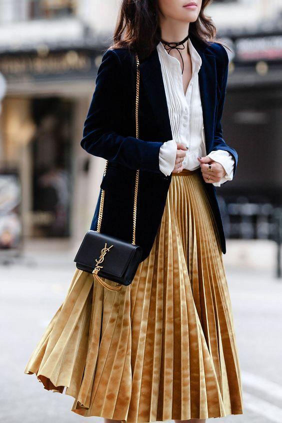 velvet skirt pleated gold