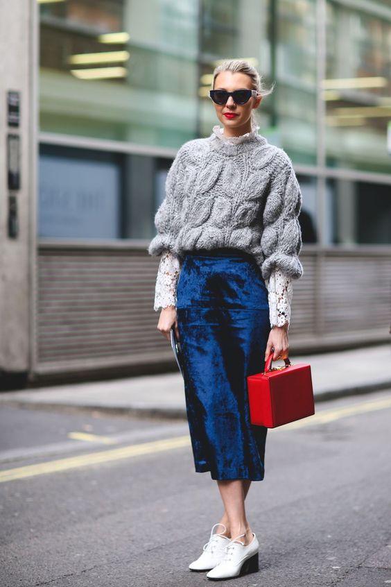 velvet skirt royal blue