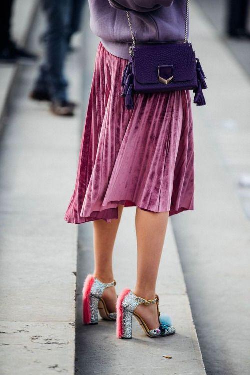 velvet skirt statement sandals