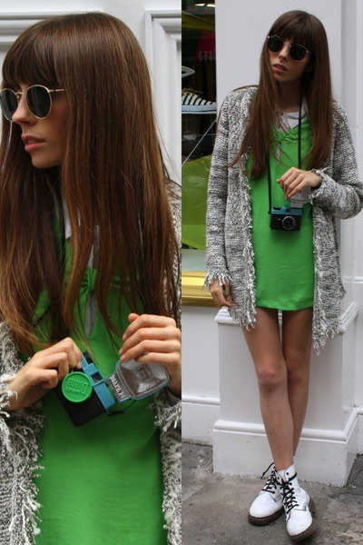 white ankle boots green mini dress grey cardigan