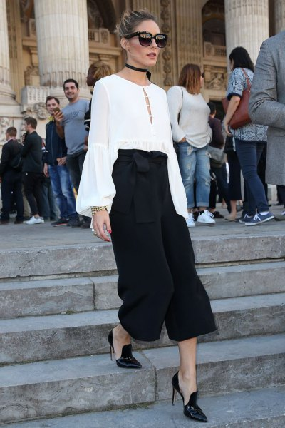 white bell sleeve chiffon blouse black culottes