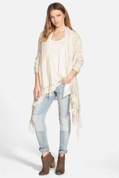white blanket cardigan jeans white tank
