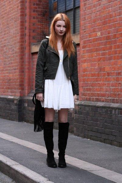 white breezy dress black knee high boots