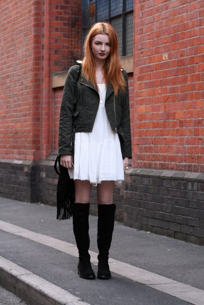 white breezy dress black knee high boots
