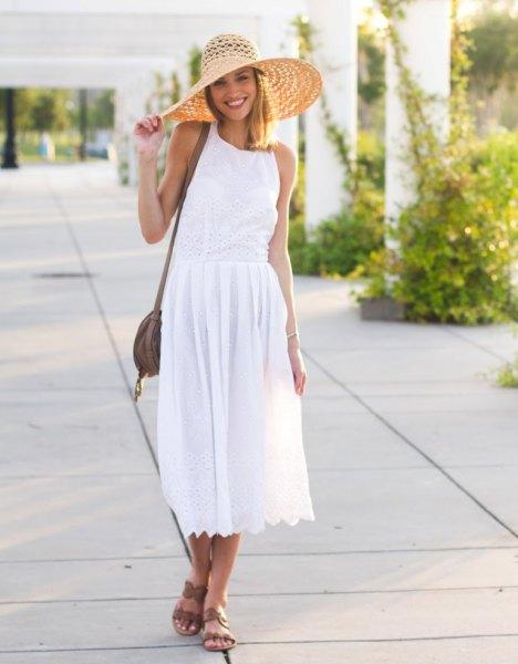 white breezy midi dress outfit