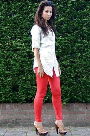 white button up boyfriend shirt red leggings
