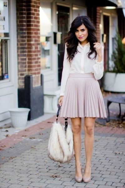 white button up shirt grey pleaded skirt
