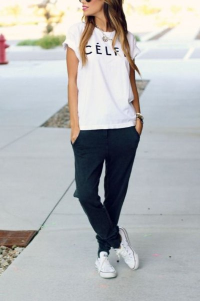 white canvas shoes t shirt black joggers