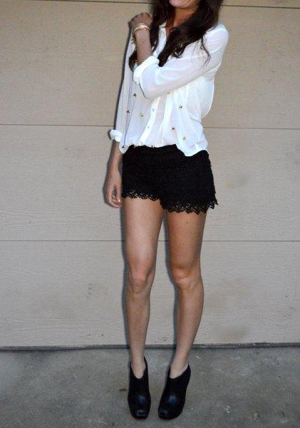 white chiffon blouse black lace shorts