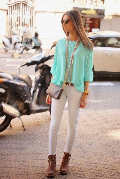 white chiffon blouse skinny jeans ankle boots