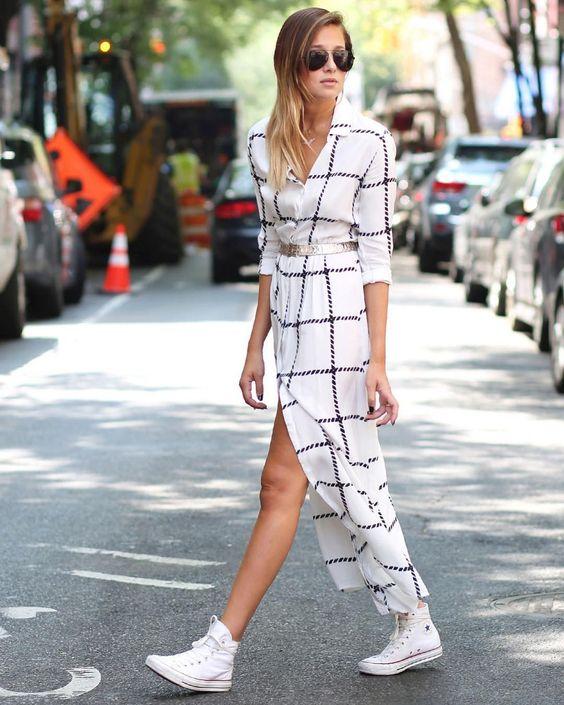 white chiffon dress geometric print