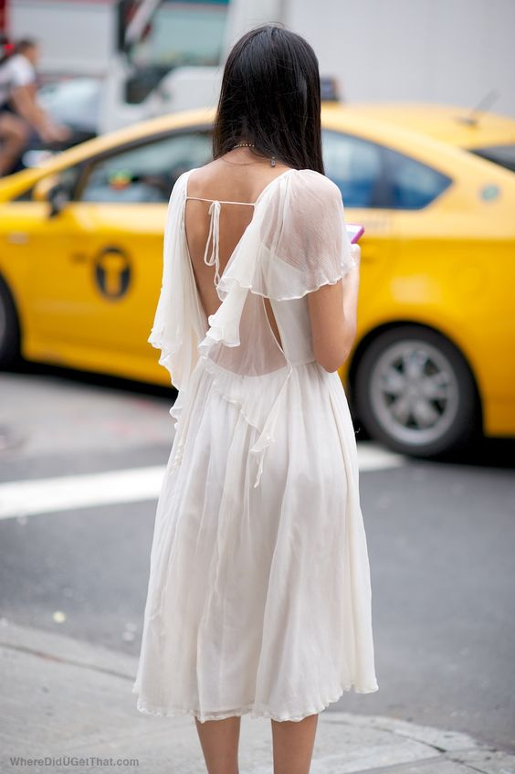white chiffon dress strap