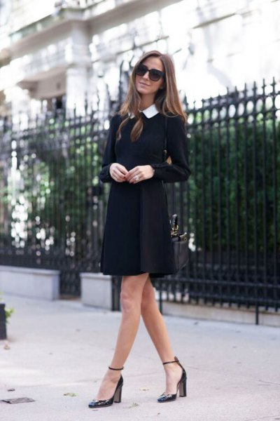 white collar shirt black long sleeve shift dress