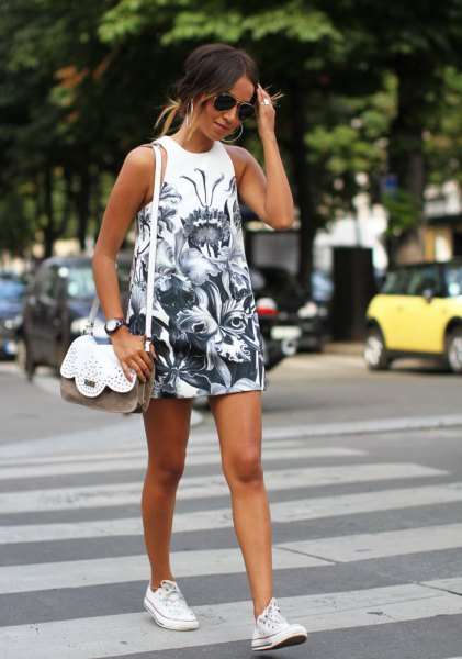white converse black and white print tee dress