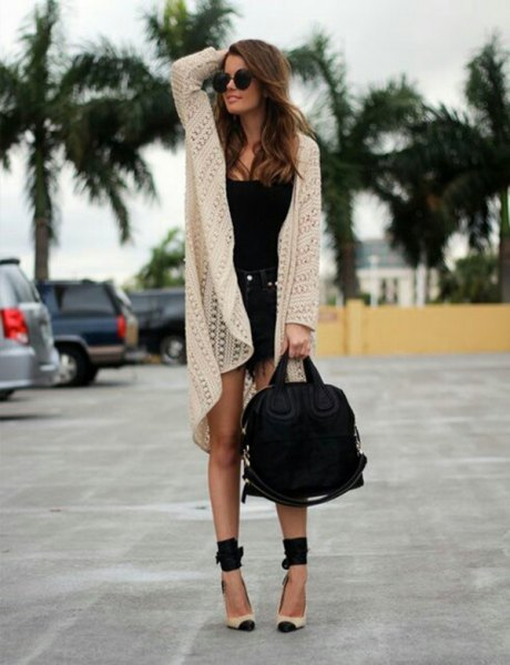 white crochet cardigan black vest top denim shorts