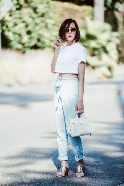 white crop top linen pants