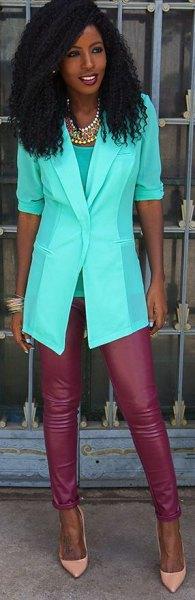 white half sleeve chiffon blazer red leather leggings