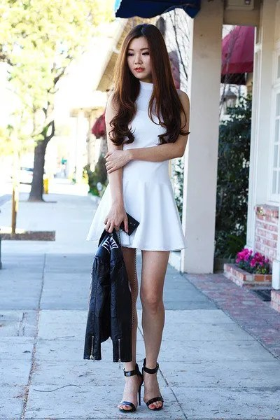 white high neck fit and flare dress black heels