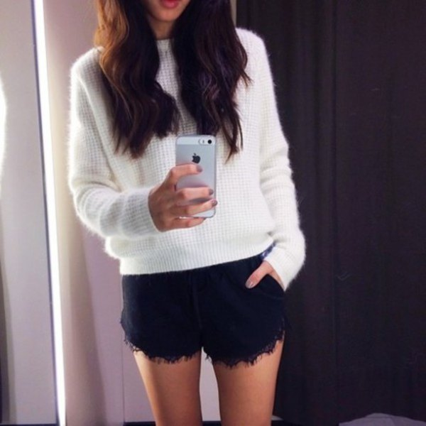white knit sweater black lace shorts