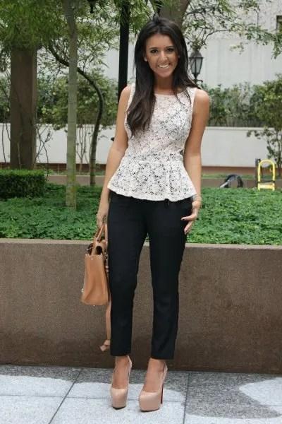 white lace peplum top black skinny jeans platform heels