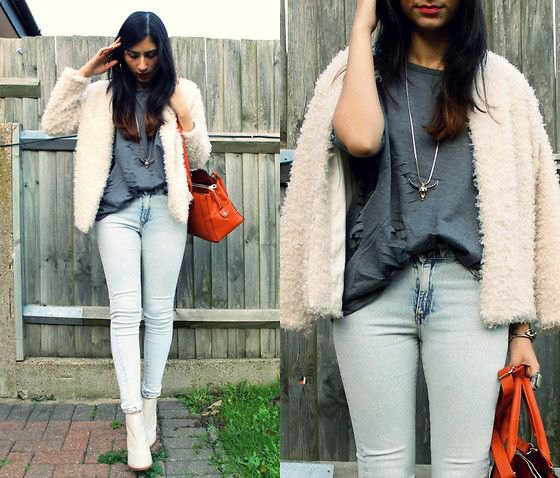 white leather boots teddy jacket jeans