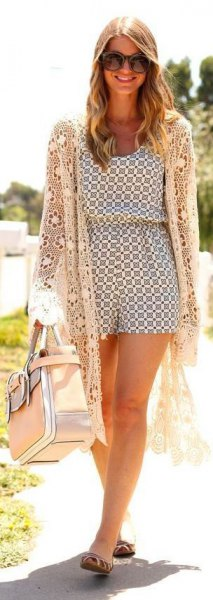 white long crochet cardigan printed romper outfit