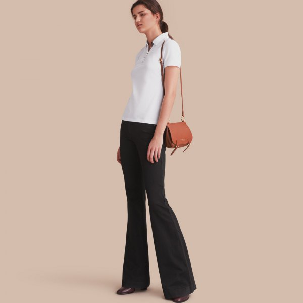 white polo shirt flare jeans