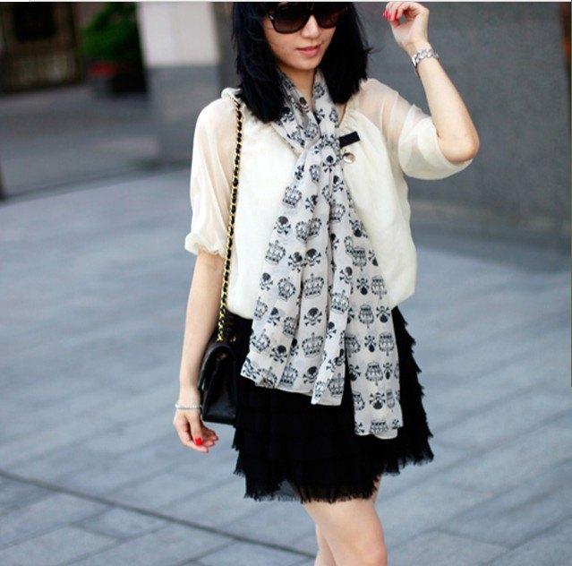 white printed chiffon scarf semi sheer blouse