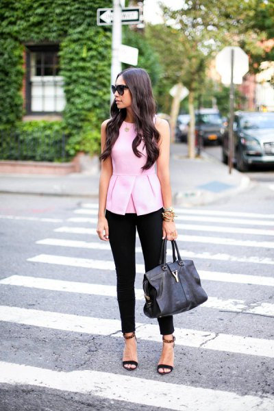 white sleeveless peplum top cropped pants