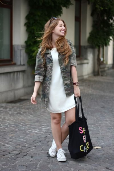 white sweater dress camo jacket white sneakers