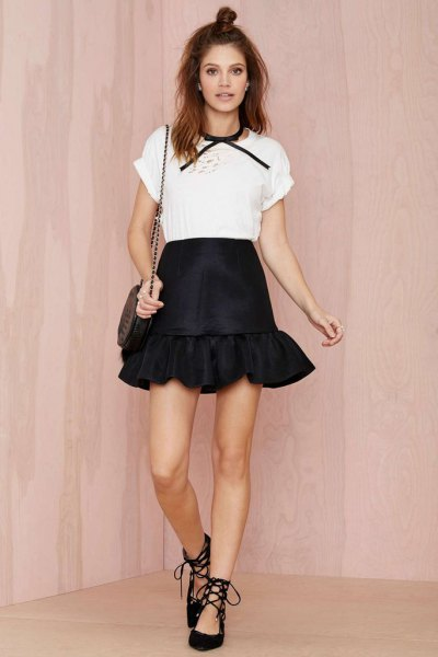 white t shirt black ruffle mini skirt