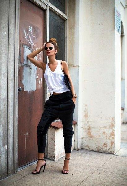 white tank top black harem pants