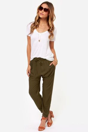 white tee olive green harem pants