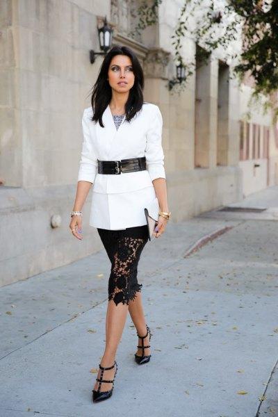 white tie waist blazer knee length lace skirt