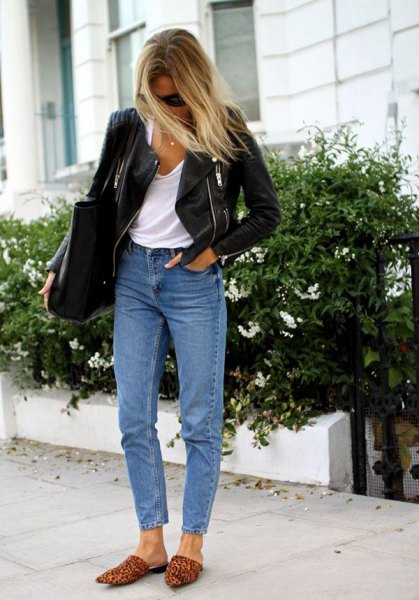 white vest top black leather jacket mom jeans